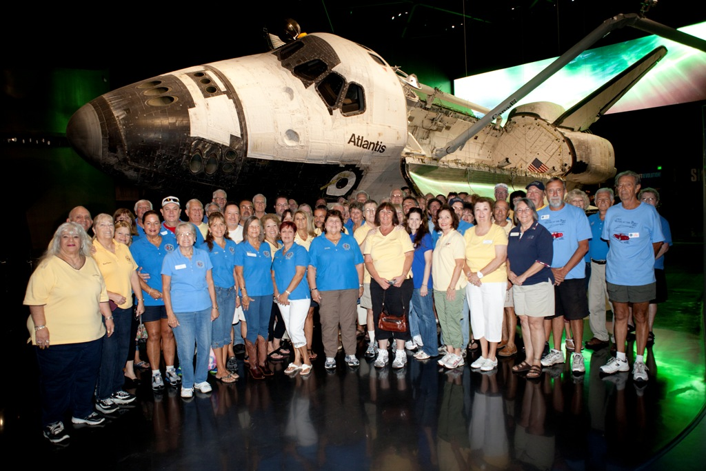 Members at Shuttle Atlantis Exhibit